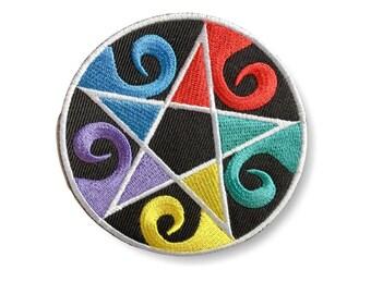 RAINBOW pentagram, pentangle Patch ca. 80mm