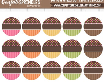 "INSTANT DOWNLOAD Editable ""Dots & Stripes"" Colorful 4x6"" 1"" Inch Bottle Cap Image/Digital Collage Sheet"