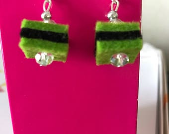 Quirky earrings green black drop earrings