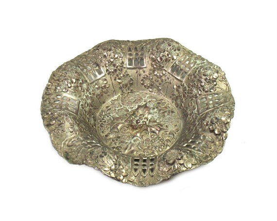Vintage Silver Plated Repousse Dish