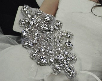 Handmade Half-finished Rhinestone Applique Wedding Dress Accessory DIY Dress Decoration