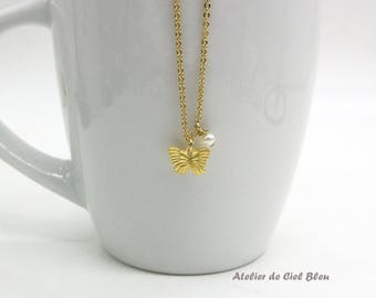 Butterfly Necklace, Tiny Butterfly Necklace, Tiny Matt Gold Butterfly Necklace, Tiny Butterfly Charm Necklace, Butterfly Jewelry