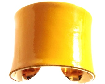 Deep Canary Yellow Patent Leather Gold Lined Cuff - by UNEARTHED