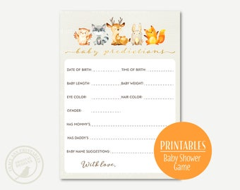 Baby Predictions card, Woodland Baby Shower Game,  Printable Baby Shower Game, Spring Baby Shower  0548
