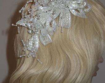 Vintage IVORY Bows Pearls Sequins Fascinator Wedding NWT Headpiece - c.1980s - New Vintage!