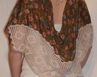 Silk Shawl with Cotton Lace