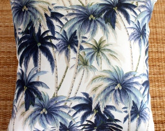 palm tree blue tropical outdoor cushion