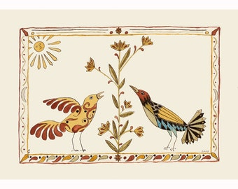 "Folk art frameable greeting card print, ""Two"""
