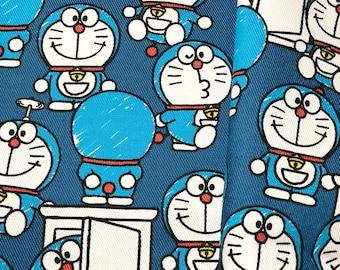 Doraemon Door Blue Licensed Cotton Fabric_Japan