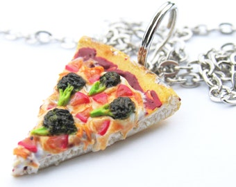 Veggie Pizza Necklace - Broccoli Pizza - Pizza Jewelry - Pizza necklace - Food Jewelry -Miniature Food - Food Necklace