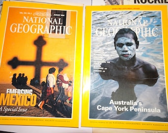 Australia's CAPE YORK & MEXICO Featured * June and August 1996 * Lot of 2 Different * Vintage Back Issues Rare National Geographic Magazines