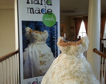 PuffScape 5ft BRIDAL DRESS REPLICA  - Ivory & Gold Tissue Paper Pom Pom Flower Puffs Bridal Fairy Tale Princess Wedding Quinceanera Sweet 16