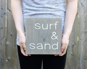 Surf and Sand Sign - Beach Wall Decor - Nautical Bathroom Decor - Rustic Cottage Decor - Coastal Beach Decor - Wood Wall Art - Wood Signs
