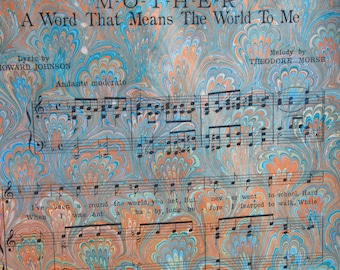 Mother Peacock - handmade marbled sheet music