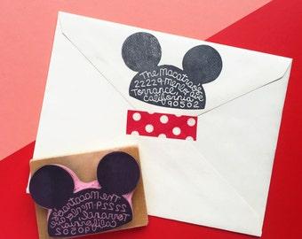 Custom Hand Carved Mickey Mouse Ears Hat Disneyland Disney World Address Stamp