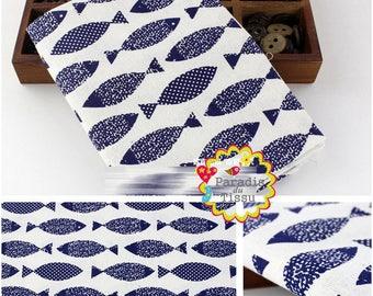 1 x coupon 50x145cm fish print pattern pure linen fabric