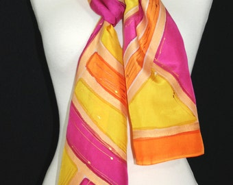 Yellow Silk Scarf. Orange Hand Painted Silk Shawl. Pink Handmade Silk Scarf NEW DAY. Size 8x54. Birthday, Bridesmaid Gift. Gift-Wrapped