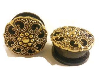 "Bronze Victorian Style Plugs sizes 00g, 7/16"", 1/2"", 9/16"", 5/8"", 11/16"", 3/4"" , 7/8"""