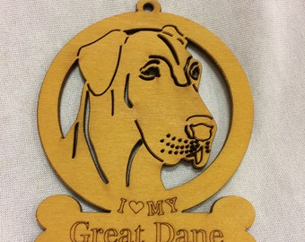 Great Dane (uncropped) Dog Ornament