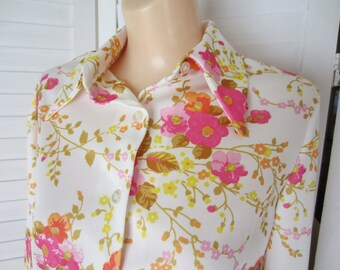 Blouse, Shirt, Pink Flowered with Long Sleeves - Size M