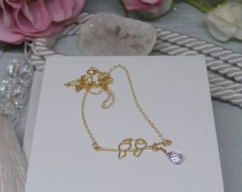 9ct gold filled chain necklace with 14ct gold vermeil lovebird branch pendant with pink amethyst briolette