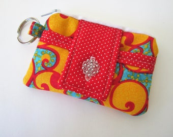 ID Keychain Wallet, Credit Card Wallet, Keychain Wallet, Red and Yellow Wallet, Loyalty Card Holder, Minimalist Wallet, Gift Under 10