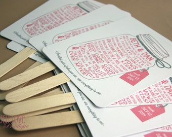 Mason Jar | Vintage Wedding Ceremony Program Fan - Fully Customizable Wording & Ready-to-DIY Kit (QTY 30+)