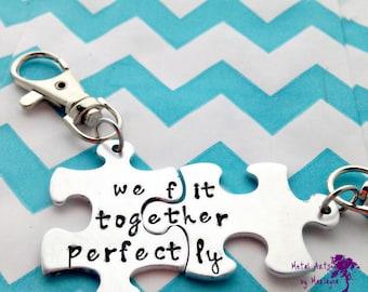 Puzzle Piece Key chains, Anniversary Gift, Couple Key Chains, Valentine's Day, BFF, boyfriend Present, Couple Jewelry, Best Friend gift