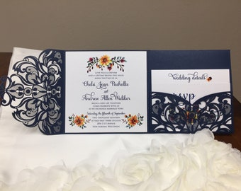 More Colors Gorgeous Square Laser Cut Wedding Invitations Pocket Wedding invitation Die Cut Laser Cut Traditional Shimmer Pocket