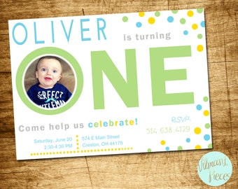 First Birthday Invitation, 1st Birthday Invitation | Personalized Birthday Invitation | Printable Birthday Invitation