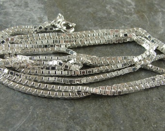 Bright Polished Sterling Silver 1 MM Box Chain - 20 Inch With Clasp - One Piece - bx120p