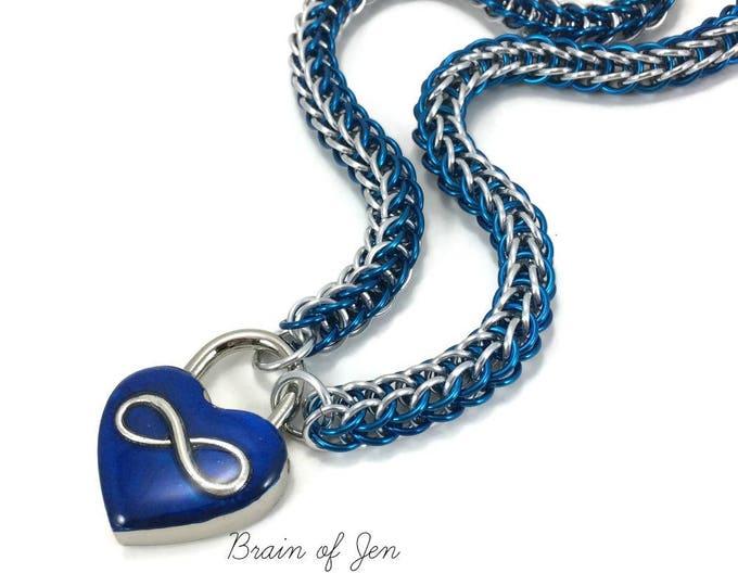 Eternity Collar Polyamory Slave Collar Cobalt Blue & Silver Infinity Symbol Blue Heart Lock