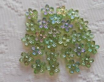 26  Light Olivine Green AB Flower Acrylic Beads  10mm