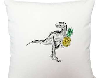Cushions/ cushion cover/ scatter cushions/ throw cushions/ white cushion/ dinosaur with pineapple cushion cover