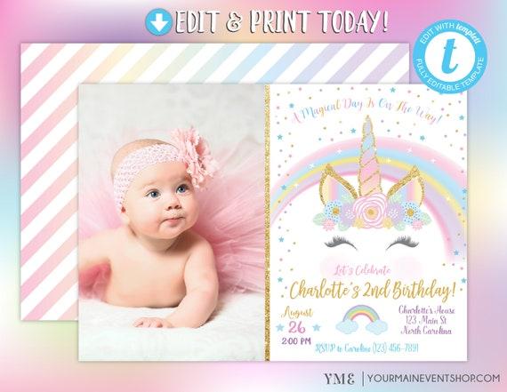 Unicorn Photo Invitation, Unicorn Birthday Party Invite, Rainbow Invitation, Magical Invitation, Rainbow Birthday Invite Printable