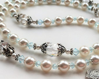 "Sky Blue and White Wedding Rosary, ""Something Blue,"" Catholic Bridal Rosary, White Pearl, and Swarovski Crystal Rosary"
