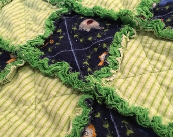 """Baby Blanket - Rag Quilt - Circus Greens - 28"""" x 36"""""""