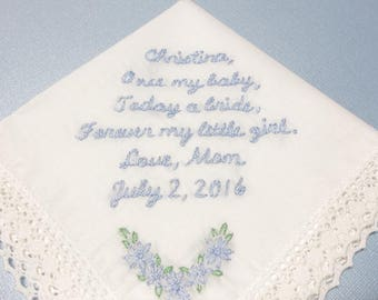 Mom to daughter, bridal gift,, wedding handkerchief, hand embroidered,something blue, today  a bride, something blue, gift for bride