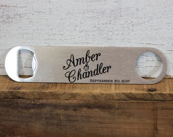 Personalized Wedding Bottle Opener Bar Blade Wedding Gift Wedding Favor