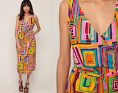 Wrap Dress Rainbow Dress Midi 90s Deep V Neck Summer Geometric Print 1990s Boho Hippie Vintage Sleeveless High Waist Bohemian Medium Large
