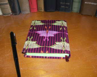 Journal with Moth Butterfly Print Designer Fabric Burgundy Cover Blank Green Pages Hand Bound