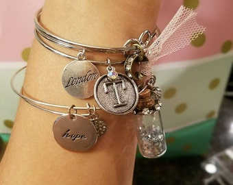Arm candy with 2 basic charms and 1 custom charm - specify charms at checkout