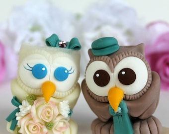 Love bird owl wedding cake topper with banner, personalized teal wedding, birdcage bridal veil