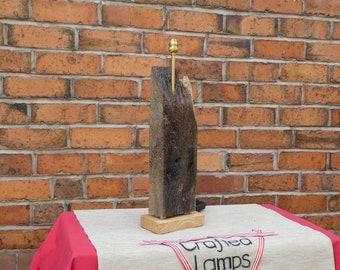 Old English Oak Wood Rustic Table Lamp