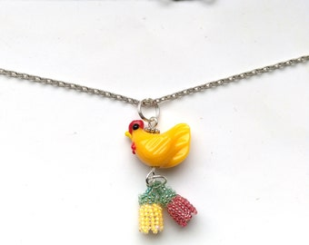 Beadwoven Floral Hen Pendant, Glass Lampwork Yellow Hen, Bright Colors, Yellow& Red Flowers, Silver Plated Chain- Cute Hen by enchantedbeads