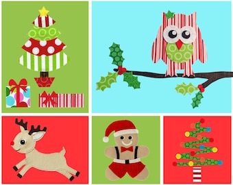 Christmas Applique Template Set. Christmas Tree and Presents, Owl on Holly Branch, Reindeer, Gingerbread Santa. Multiple Purchase Discount