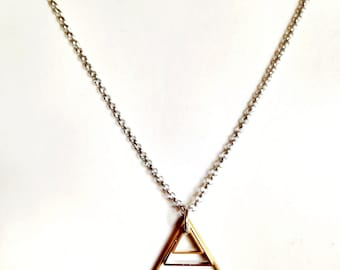 Mens Necklace w/ Triangle Pendant. Guy Chain Necklace. Geometric Necklace. Stainless Steel Necklace Unisex Jewelry for Him and Her