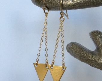 Triangle Drop Earrings, Geometric Earrings, Gold Triangle Earrings, Chevron Earrings, Simple Gold Earrings, Drop Earrings
