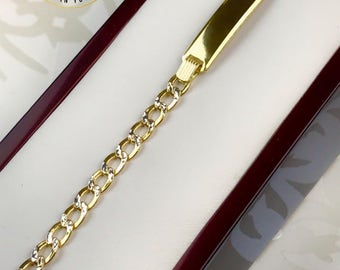 14K Gold Baby ID Bracelet - Cuban Chain with Diamond Cut; FREE Name Engrave