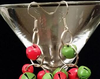 Red & Green Jingle Bell Earrings, Bell Earrings, Holiday Earrings
